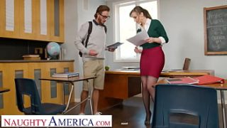 Naughty America – Lexi Luna gives student a testosterone boost by wrapping her pussy around his cock