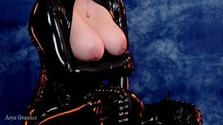 sexual horny female with pin up mood in latex rubber clothes tease seduce you POV vid